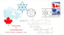 CANADA. N°377 Sur Enveloppe 1er Jour (FDC) De 1967 Ayant Circulé. Drapeau Du Canada. - Buste