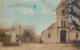 CPA 64 Pyrénées-Atlantiques Lahontan L'Eglise Et Le Monument Aux Morts - Morlaas