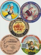 Étiquettes De Fromage (Lot De 5) : CAMEMBERT : Virval, Clécy, Normandie, Dipal, Point De Faire, Ferme à Camembert (61) - Formaggio