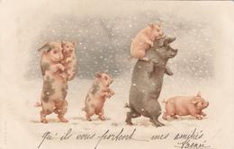 CPA  COCHONS Dans La Neige   A&M.B   Précurseur - Pigs
