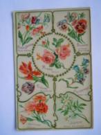 Langage Des Fleurs Carte Glacée Rose Pensée Tulipe Campanule Oeillet Jasmin Pois De Senteur K.F. Paris Série 1863 Bis - Flores
