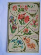 Langage Des Fleurs Carte Glacée Liseron Iris Laurier Rose Bruyère Trefle Bluet Amandier K.F. Paris Série 1863 Bis - Flores