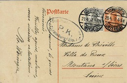 TP N° 97 Et 98  Du Reich Sur Carte Postale De Schirmeck Pour Montana - Alsace-Lorraine