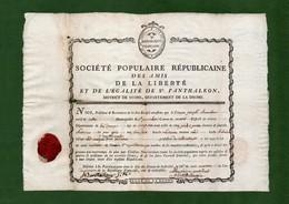 D-FR Révolution 1792 Société Populaire Républicaine Des Amis De La Liberté Et De L'Egalité - Documents Historiques