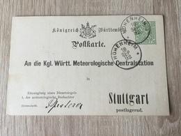 GÄ32087 Württemberg Ganzsache Stationery Entier Postal  DPB 15 Von Hohenheim Nach Stuttgart Meteorologie Meteorology - Wurtemberg