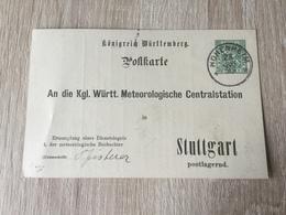 GÄ32087 Württemberg Ganzsache Stationery Entier Postal  DPB 16Ib Von Hohenheim Nach Stuttgart Meteorologie Meteorology - Wurtemberg