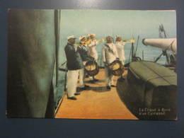 Carte Postale Soldats Marins La Clique à Bord D'un Cuirassé - Personen