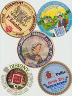 Étiquettes De Fromage (Lot De 5) : CAMEMBERT : Vallée, Clécy, Belle Nantaise, Briouze, Lavalou, Isigny St Gildas Ds Bois - Formaggio