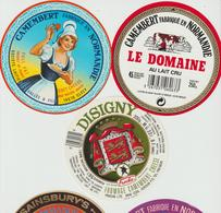 Étiquettes De Fromage (Lot De 5) : CAMEMBERT : Vallée, Clécy, Isigny, Le Domaine, Briouze, Sainsbury's, Nomandy - Formaggio