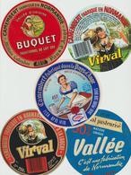 Étiquettes De Fromage (Lot De 5) : CAMEMBERT : Vallée, Clécy, Buquet, Pays D'auge, Virval, Vincennes, 45/50% - Formaggio