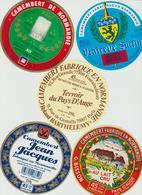 Étiquettes De Fromage (Lot De 5) : CAMEMBERT : Vallée, Clécy, Pays D'auge, Jean Jacques, Vraireve Surfin, Bisson - Formaggio