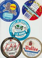 Étiquettes De Fromage (Lot De 5) : CAMEMBERT : Vallée, Clécy, 1791, Le Monde, Le Lion, Ile De France, Champsecret - Cheese