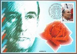 Carte Maximum Fdc, France, Chateau Chinon,1997, N°3042, François Mitterrand, Portrait, Rose, Drapeau Tricolore - Maximum Cards