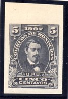 HONDURAS - 1907 5c MEDINA IMPERF PLATE PROOF ON THIN PAPER FINE MNH ** - Honduras