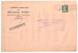 PARIS  Rue Cujas Enveloppe Journal PERIODIQUE Hebdomadaire SIREY 2c Semeuse Vert Foncé Yv 278 Ob 30 11 1935 - 1906-38 Semeuse Camée