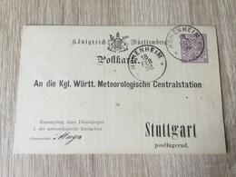 GÄ32087 Württemberg Ganzsache Stationery Entier Postal  DPB 14 Von Hohenheim Nach Stuttgart Meteorologie Meteorology - Wurtemberg