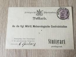 GÄ32087 Württemberg Ganzsache Stationery Entier Postal  DPB 14 Ortskarte Von Stuttgart Meteorologie Meteorology - Wurtemberg