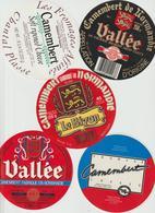 Étiquettes De Fromage (Lot De 5) : CAMEMBERT : Vallée, Clécy, Bizon, Le Grand Beron, Normandie - Formaggio