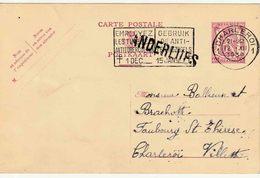 """BELGIË : GRIFFE : ENTIER (B)  """"CHARLEROI 1 / 12.XII.1939"""" + Griffe """" THUIN 1"""" - Marcofilia"""