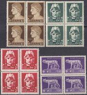 ITALIA - 1929/1930 - Lotto Composto Da 4 Quartine Nuove MNH: Yvert 226, 227, 236 E 238. - 1900-44 Victor Emmanuel III.