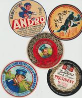 Étiquettes De Fromage (Lot De 5) : PETIT CAMEMBERT : L'amateur Normand, Andro, Percy, Le Cadre Noir, Président, Vallée - Formaggio