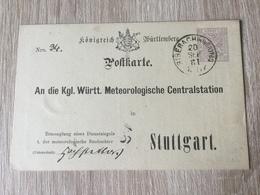 GÄ32087 Württemberg Ganzsache Stationery Entier Postal  DPB 14 Von Biberach Nach Stuttgart Meteorologie Meteorology - Wurtemberg