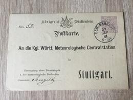 GÄ32087 Württemberg Ganzsache Stationery Entier Postal  DPB 14 Von Ulm Bahnhof Nach Stuttgart Meteorologie Meteorology - Wurtemberg