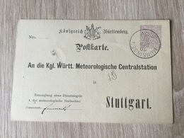 GÄ32087 Württemberg Ganzsache Stationery Entier Postal  DPB 14 Von Münsingen Nach Stuttgart Meteorologie Meteorology - Wurtemberg