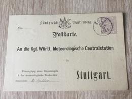 GÄ32087 Württemberg Ganzsache Stationery Entier Postal  DPB 14 Von Sulz Nach Stuttgart Meteorologie Meteorology - Wurtemberg