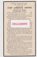 DOODSPRENTJE MERTENS JOSEF WEDUWNAAR RAES NIEUWKERKEN-WAAS 1865 - 1941  Bewerkt Tegen Kopieren - Images Religieuses