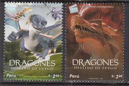 2006 2007 Peru Animation Films Movies Dragons Complete Set Of 2  MNH - Perù