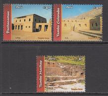 2006 2007 Peru Ancient Cultures Inca Temples History Complete Set Of 3  MNH - Perù
