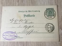 GÄ32087 Württemberg Ganzsache Stationery Entier Postal P 37 Mit Zudruck Von Stuttgart Nach Neuffen - Wurtemberg