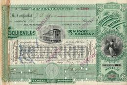 Titre De Bourse Made In USA - LOUISVILLE RAILWAY COMPANY - 1891. - Railway & Tramway