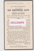 DOODSPRENTJE Sack Jan Weduwnaar Buytaert Nieuwkerken-waas 1854 - 1940  Bewerkt Tegen Kopieren - Images Religieuses
