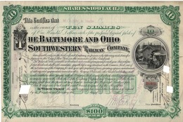 Titre De Bourse Made In USA - THE BALTIMORE AND OHIO SOUTHWESTERN RAILWAY COMPANY - 1894. - Railway & Tramway
