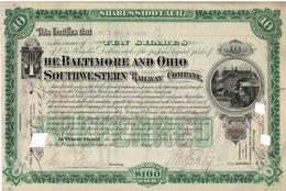Titre De Bourse Made In USA - THE BALTIMORE AND OHIO SOUTHWESTERN RAILWAY COMPANY - 1894. - Chemin De Fer & Tramway