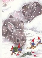 Brownies - Gnomes - Elves Skiing And Bringing Christmas Tree - Hares - Rabbits - Navidad
