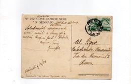 """LAB724 - ERITREA 1935, Cartolina 4A DIVISIONE CC.NN. """"3 Gennaio"""" : P.M. 12 - Eritrea"""