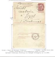 CL27/ Entier CL 10 C.Relais-Etoile Zolder 13/2/1901 > Exel Limburg C.d'arrivée Wychmael (Limburg) 14/2/1901 - Marcofilia