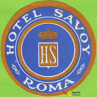 Voyo  HOTEL SAVOY Roma Italy Hotel Label 1970s Vintage Ilte Torino - Etiquettes D'hotels