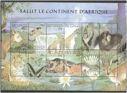 Congo 2000 Animals And Birds, Sheet With 12 Stamps 1FC Value, Mi 1411-1422 Minisheet, MNH(**) - République Démocratique Du Congo (1997 -...)