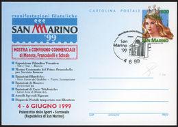 """S.MARINO - 1999  Cartolina Postale San Marino """"99 £. 800 Annullo FDC - Postal Stationery"""