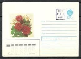 Estland Estonia 1992 Provisional Handstamp Surcharge P.P.A Stationery Cover Ganzsache Flowers - Estonia
