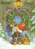 Brownie - Gnome - The Elf Is Putting Christmas Wreath On The Door - Bullfinch - Basket Full Of Apples - Arias Vernet - Natale