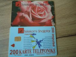ALBANIA USED CARDS  FLOWERS - Albanie