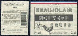 France Lot 2 Étiquettes Vin Wine Labels J.M. Aujoux Beaujolais Nouveau 2019 Coq - Etiketten
