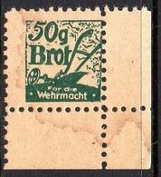 GERMANY 3RD THIRD REICH 50G WEHRMACHT BROT GERMAN ARMY BREAD RATION STAMP GREEN CORNER MARGINAL NHM WW2 REVENUE - Germania
