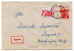 Letter - Postmark Osijek, 23.4.1963 / Zagreb, 24.4.1963. / Beograd, 23.4.1963., Yugoslavia, Expres Mail - Unclassified