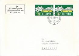 """125 - 91 - Enveloppe Avec Oblit Spéciale """"Grindelwald/Wengen 2. Schweiz Skimeisterschafts-Woche 1954"""" - Marcophilie"""